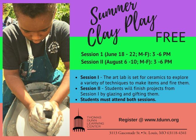 Summer Clay Play ceramics camp flyer.