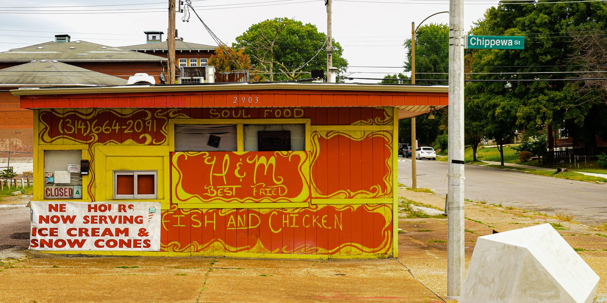 H & M Fish and Chicken at Chippewa Street and Nebraska Avenue in Gravois Park, St. Louis, MO.