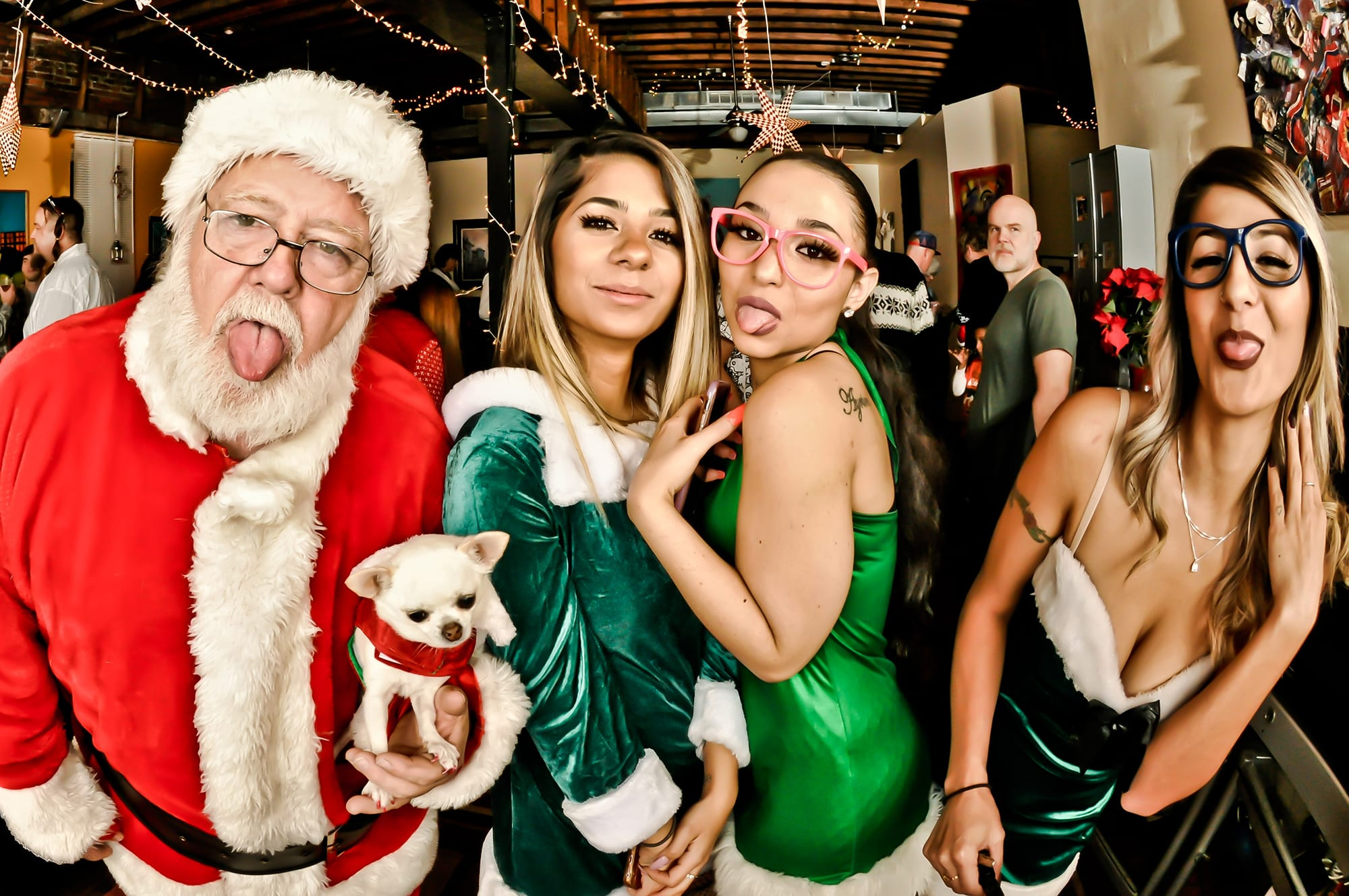 Santa, Snowy Chloe the Christmas Chihuahua, and the Spicy Elves at the 2018 DT2 Holiday Party.
