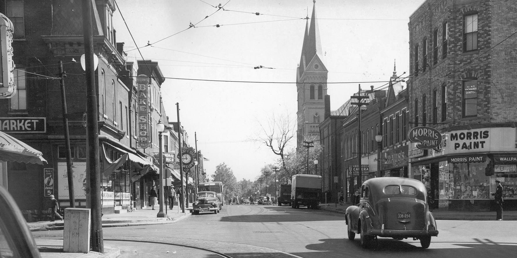Meramec Street at Virginia Avenue looking east in the 1950s.