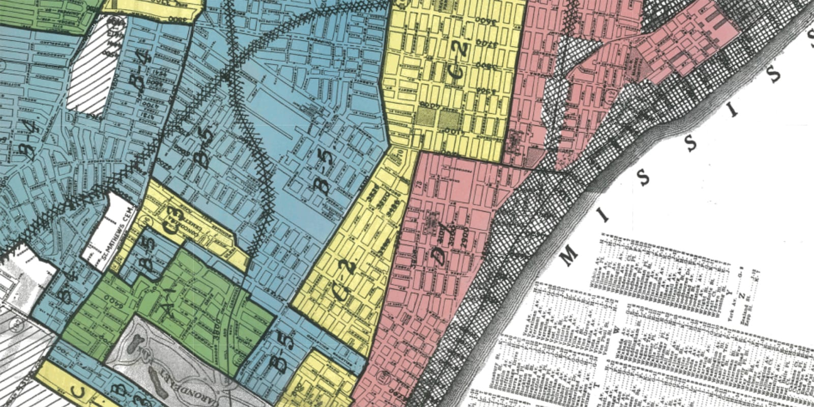 Redlining map from the Home Owners' Loan Corporation.