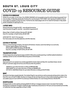South St. Louis City COVID-19 Resource Guide.