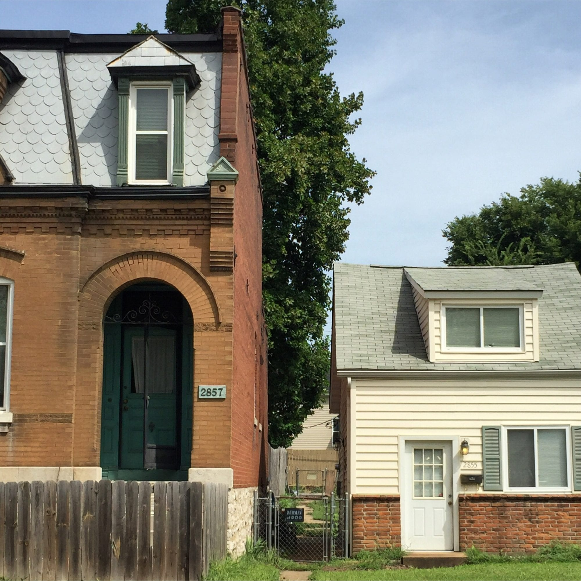 Contrasting architectural styles in Dutchtown, St. Louis. Photo by Josh Burbridge.
