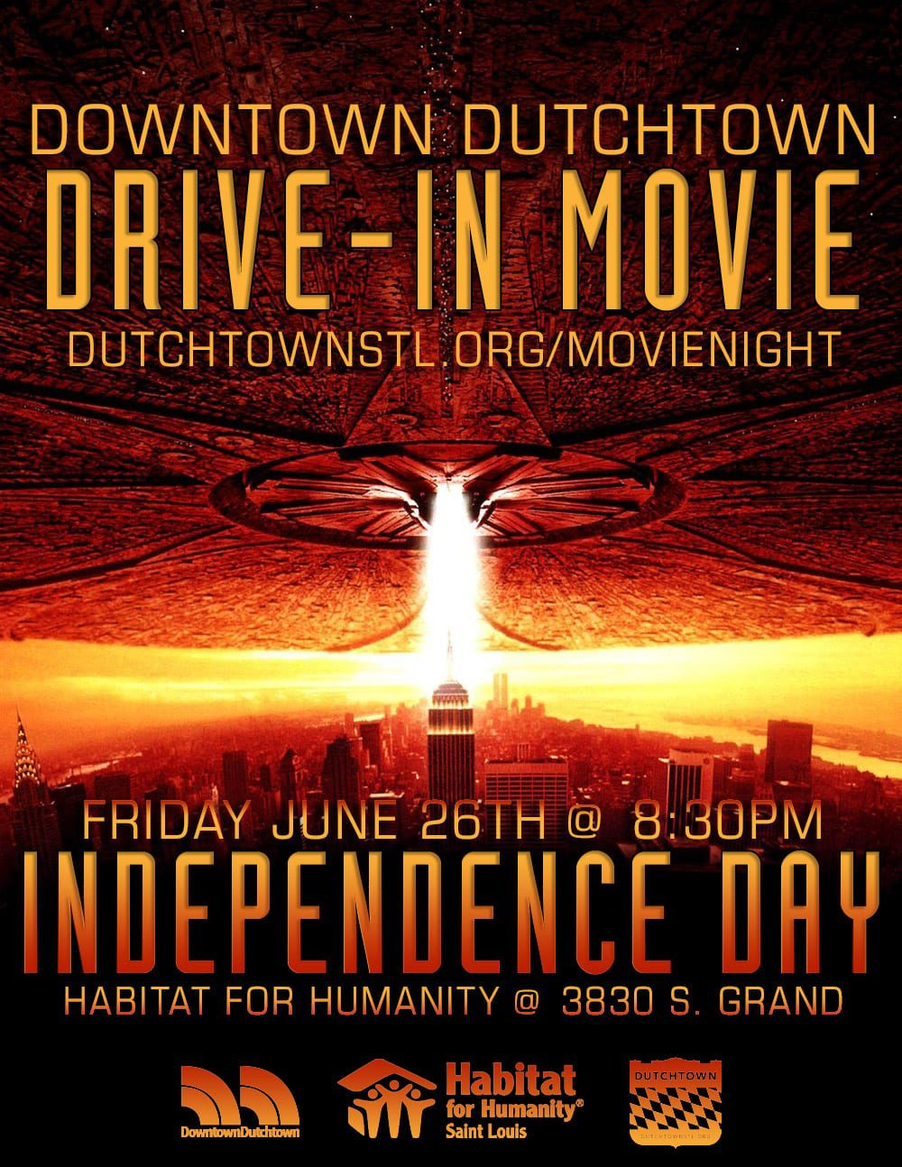 Downtown Dutchtown Drive-In Movie featuring Independence Day.