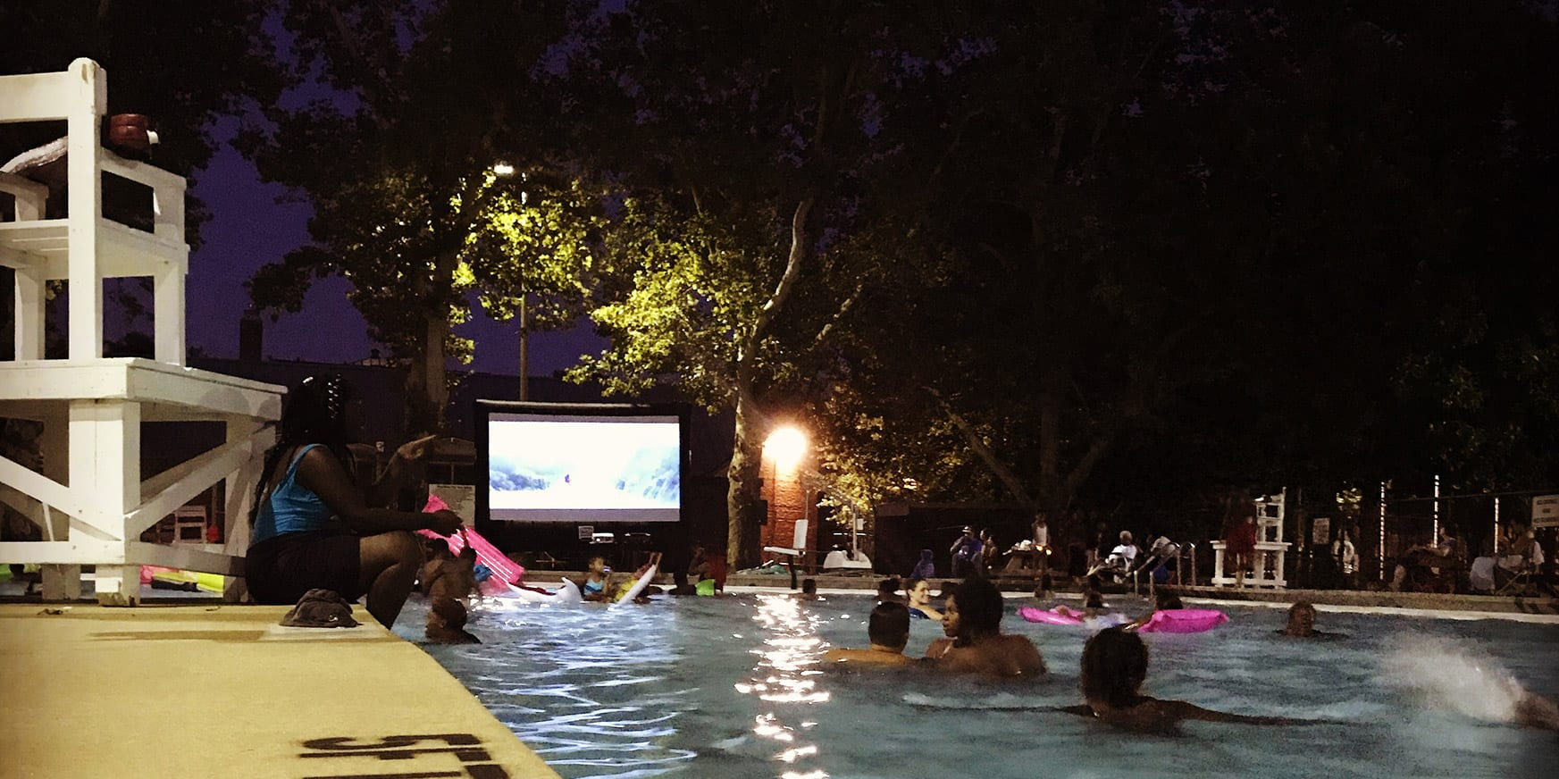 Dive-in movie at the Marquette Park Pool.