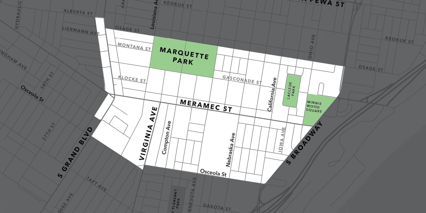Map of the Downtown Dutchtown area.