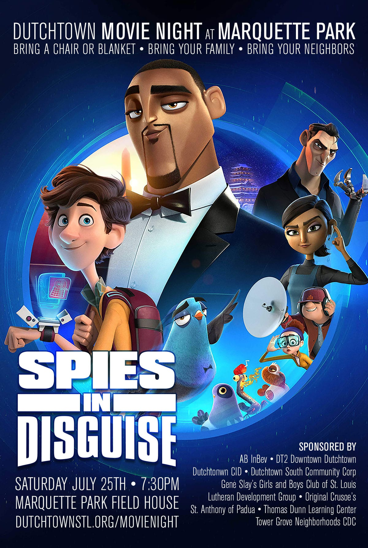 Poster for Dutchtown Movie Night at Marquette Park: Spies in Disguise.