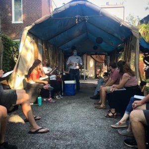 Dutchtown neighbors on the 4400 block of Virginia Avenue discuss organizing.