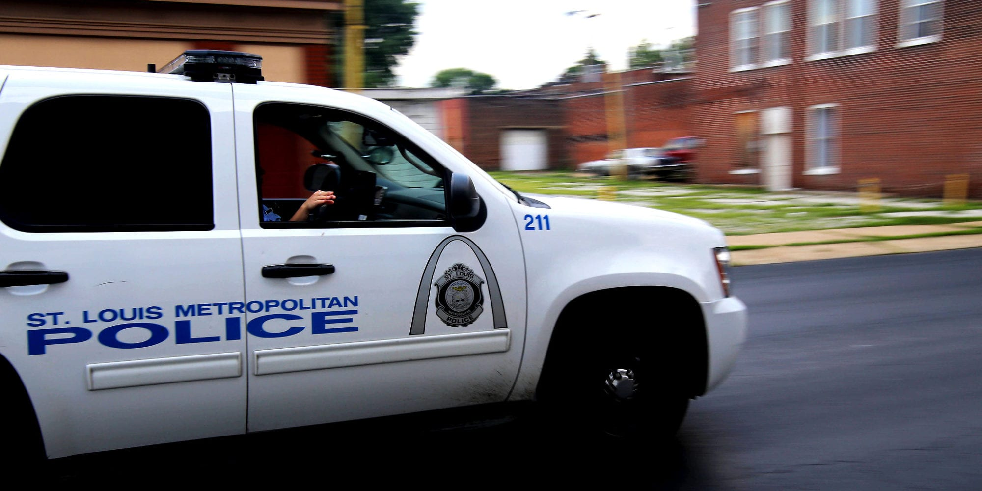 St. Louis Metropolitan Police Department SUV driving down Chippewa Street in the Dutchtown neighborhood. Photo by Paul Sableman.