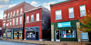 Businesses in the 3300 block of Meramec Street in Downtown Dutchtown, St. Louis, MO.
