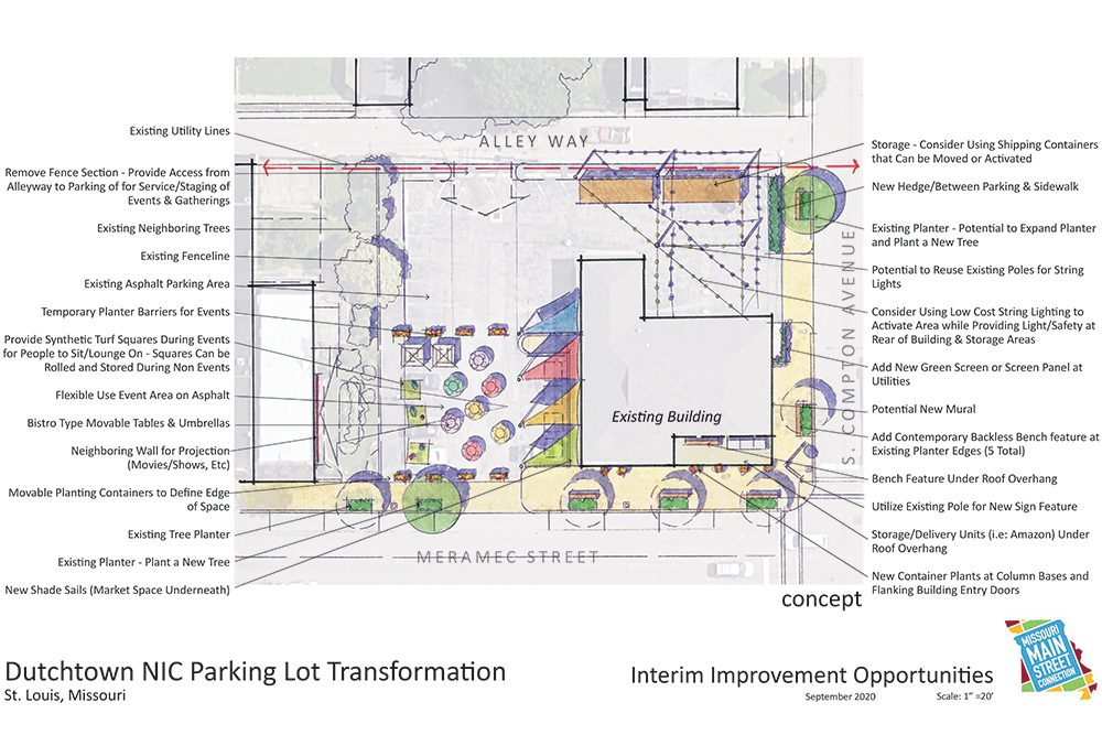 The site plan of the redesigned Neighborhood Improvement Center.