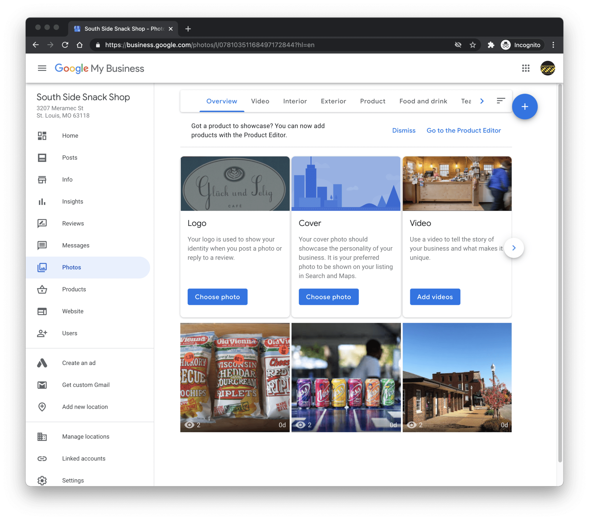 Google My Business dashboard.