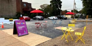 The parking lot of the Neighborhood Innovation Center in Dutchtown.