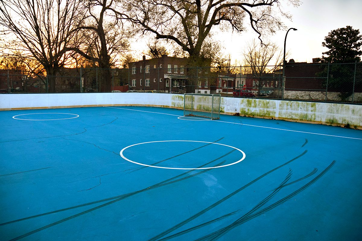 Roller hockey rink at Mount Pleasant Park.