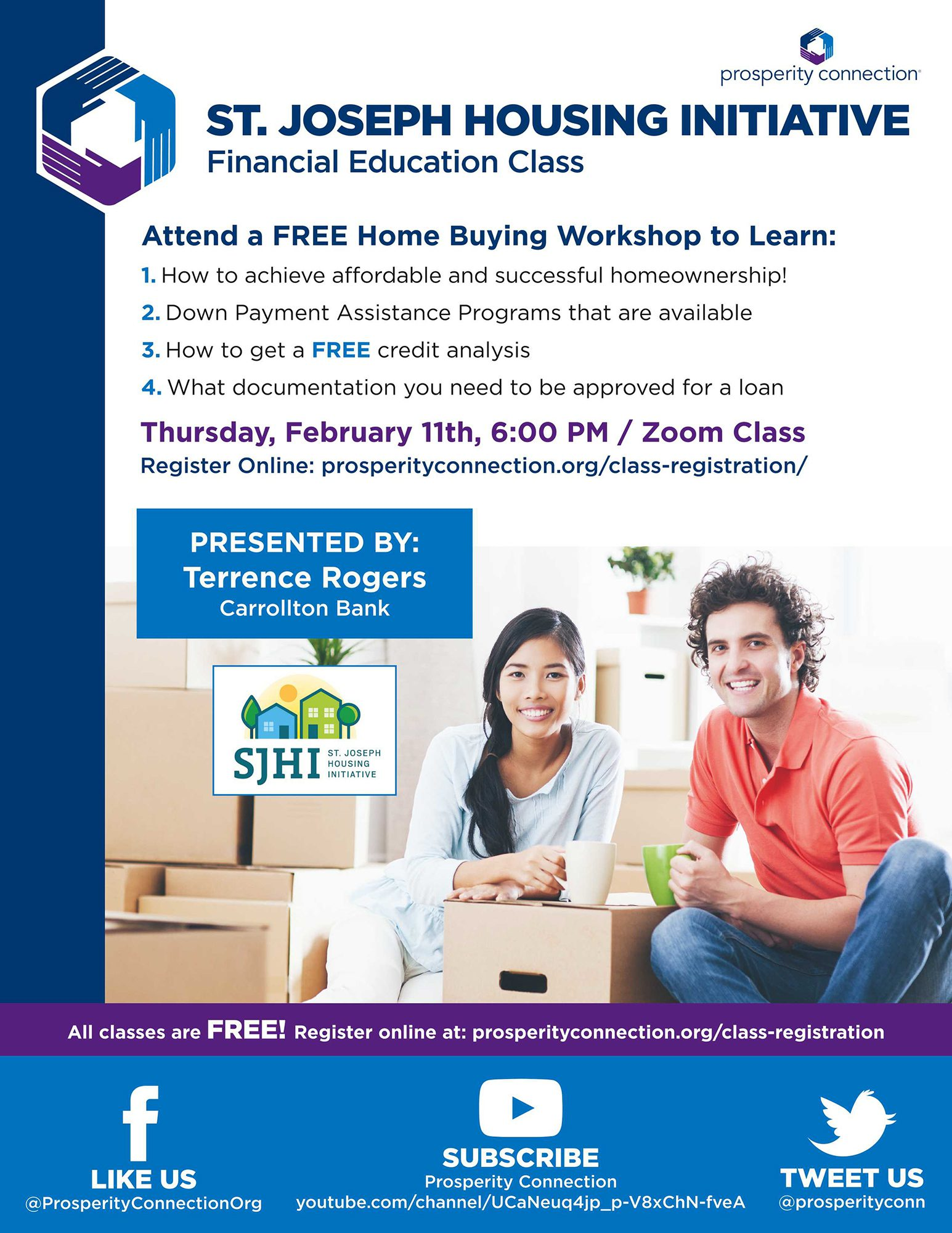 Flyer for St. Joseph's Housing Initiative Homebuyer Education class on February 11th, 2021.