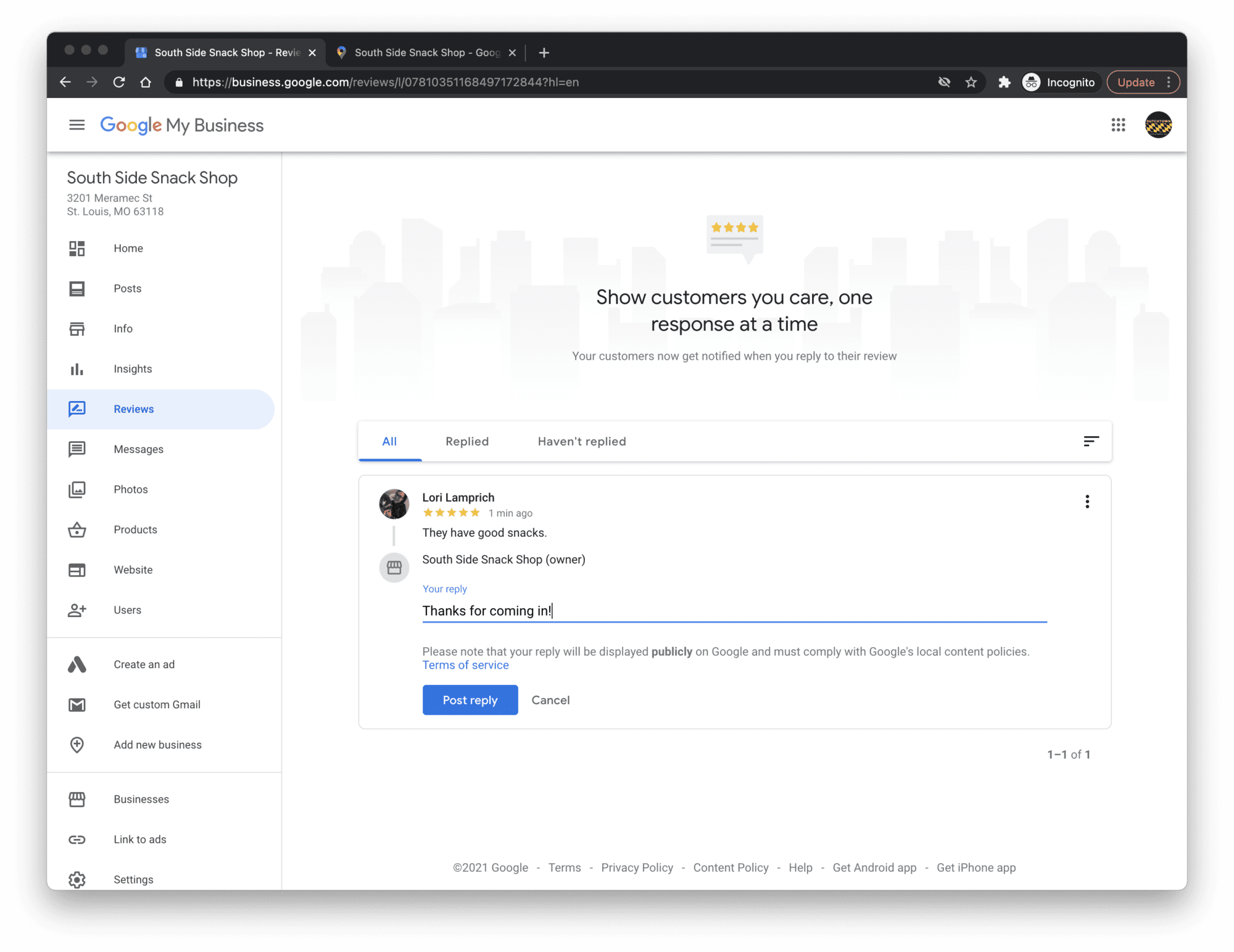 Replying to reviews in Google My Business.