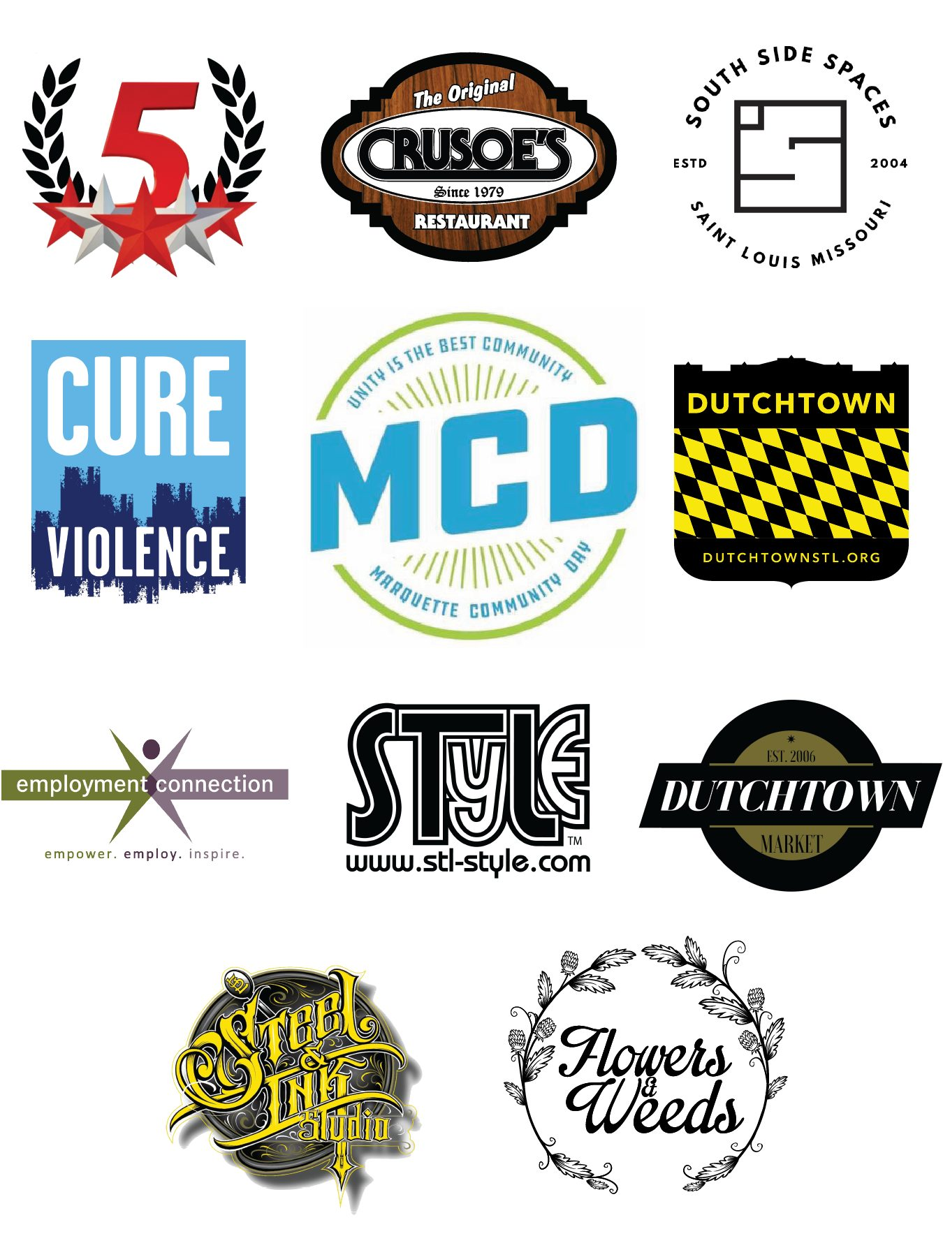 Sponsors of the Marquette Community Day Kickball Tournament: 5 Star Market, Original Crusoe's, South Side Spaces, Cure Violence, DutchtownSTL, Employment Connection, STL STyLe, Dutchtown Market, Steel and Ink Tattoo, and Flowers and Weeds.