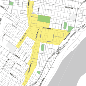 A map of the UrbanMain District in Dutchtown, St. Louis, MO.