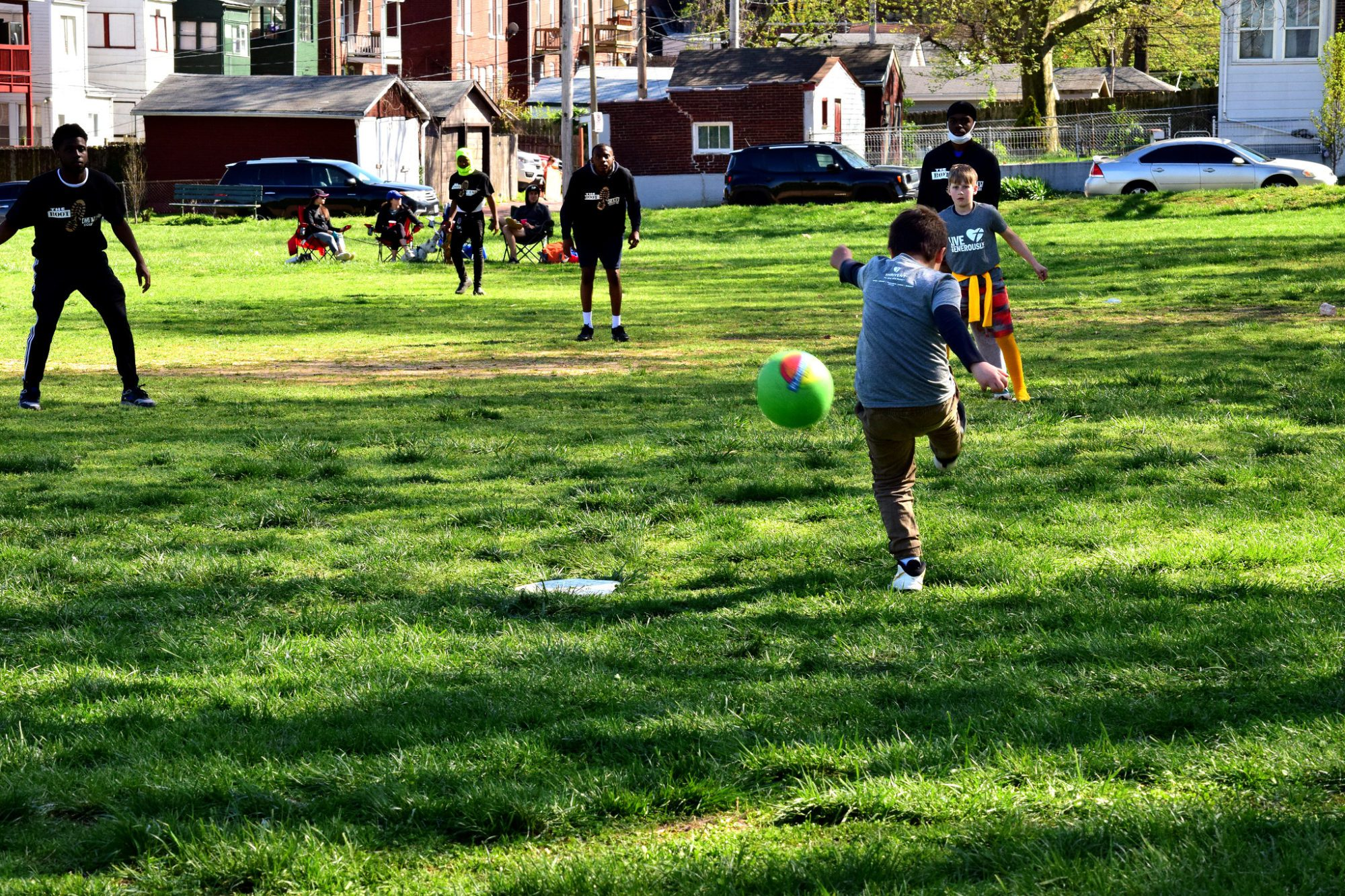 Playing kickball at Marquette Park in Dutchtown, St. Louis, MO.