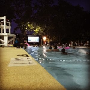 Dive-In Movie Night at the Marquette Park Pool in Dutchtown, St. Louis, MO.