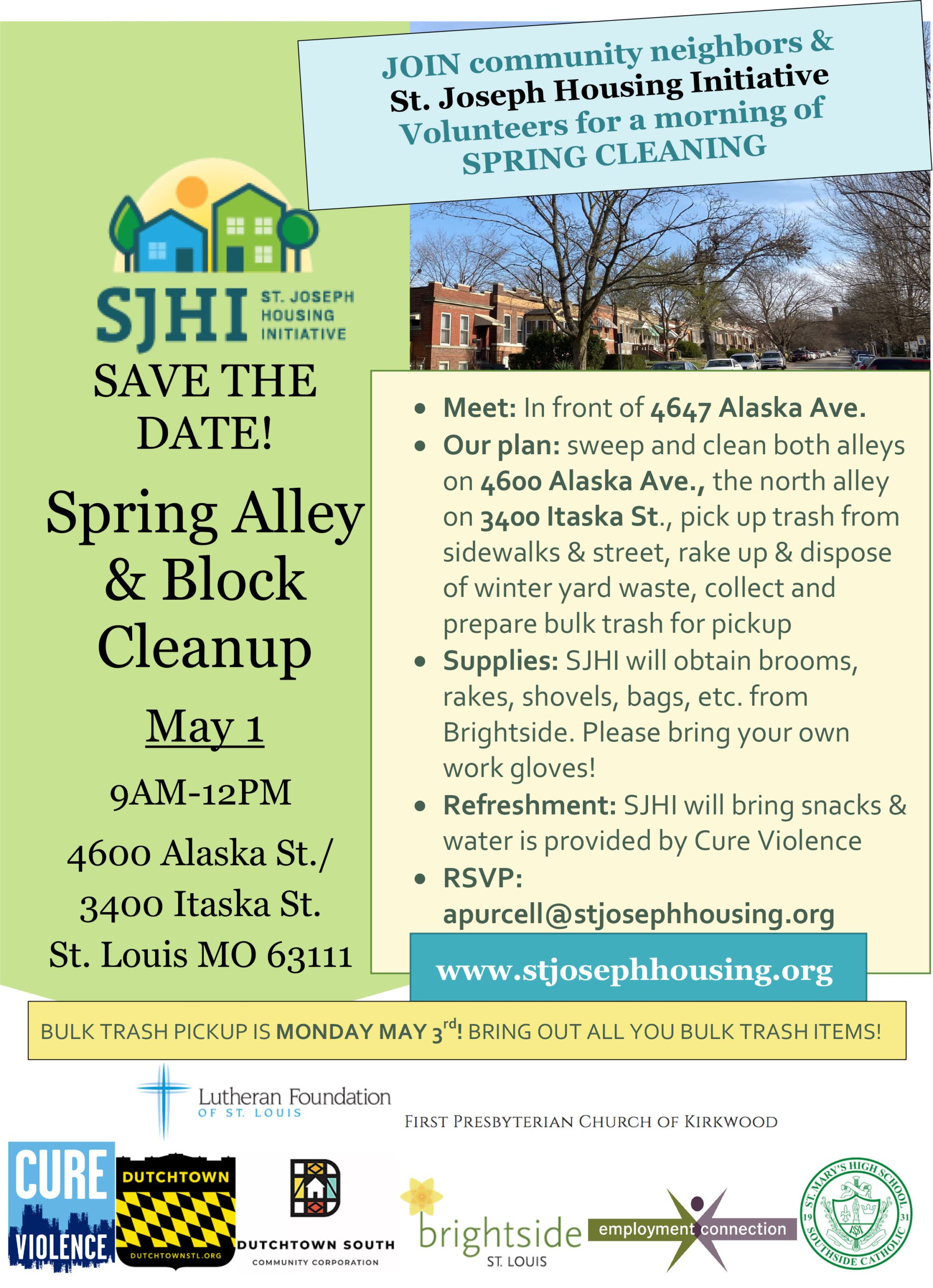 Flyer for the St. Joseph Housing Initiative Spring Cleanup.