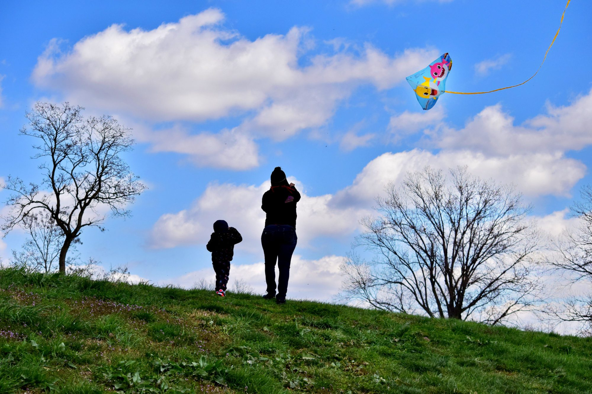 A mother and daughter fly a kite in Marquette Park in Dutchtown, St. Louis, MO.