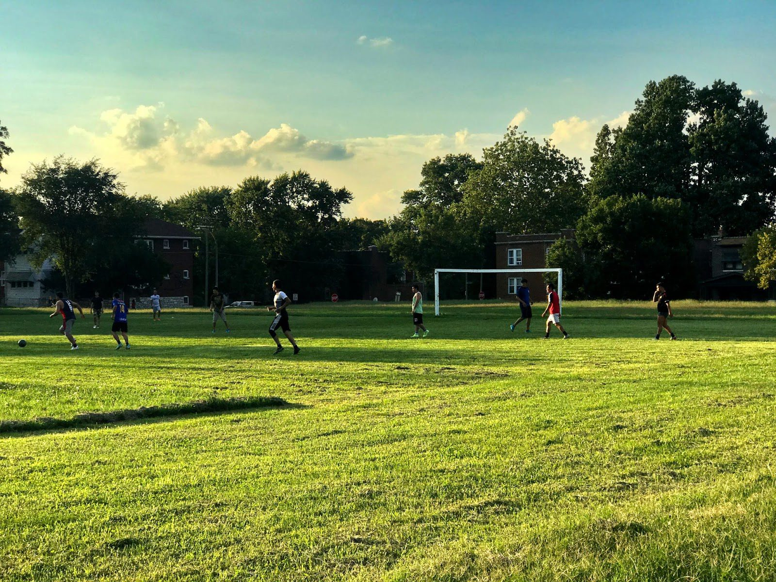 Soccer players at Marquette Park in Dutchtown, St. Louis, MO.