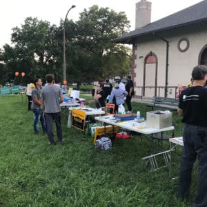 Neighbors at Dutchtown Movie Night in Marquette Park.