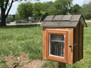 The free little library at Minnie Wood Memorial Square, along South Broadway near Gasconade Street in Dutchtown, St. Louis, MO.