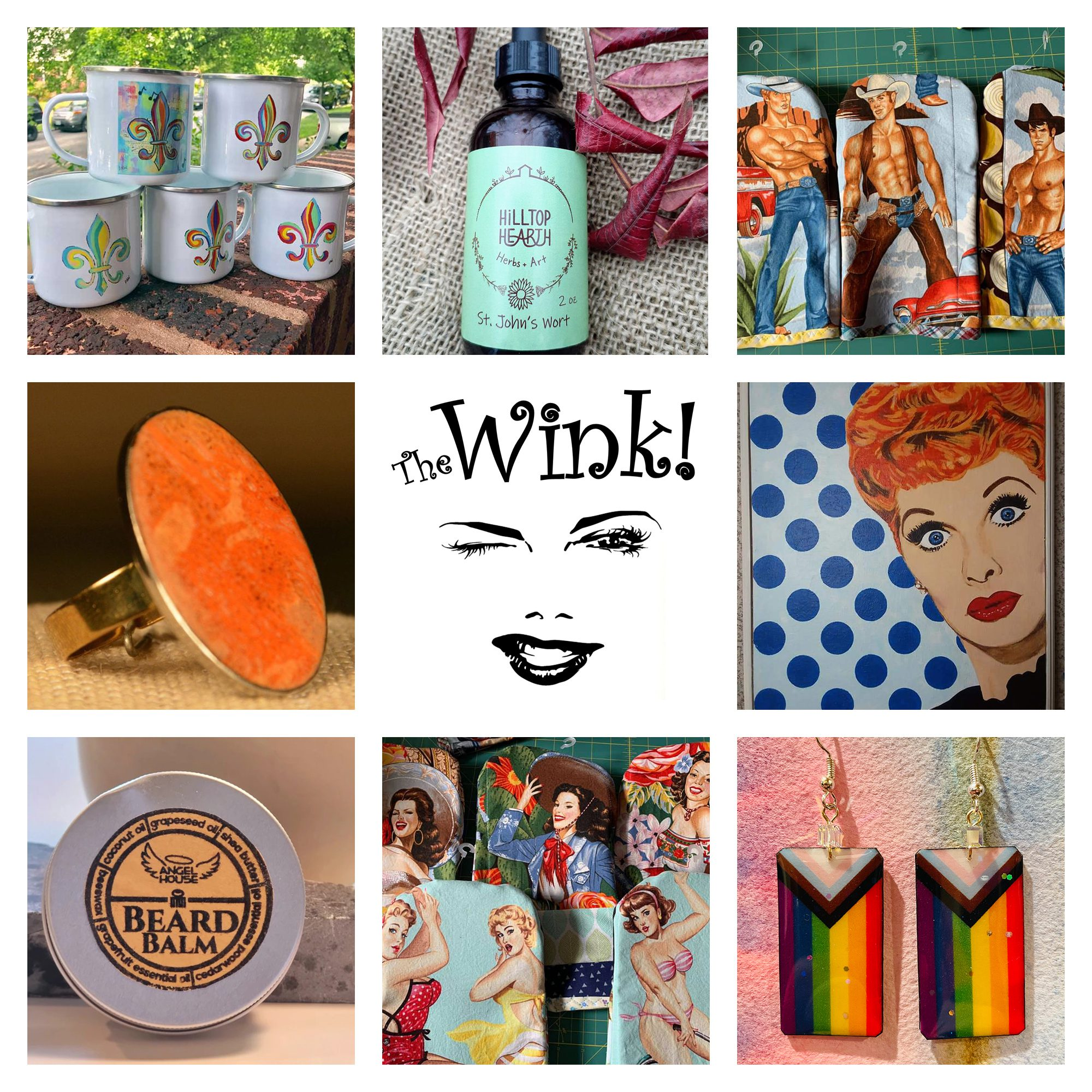 Products available at The Wink! in Downtown Dutchtown, St. Louis, MO. Offerings include jewelry, housewares, beauty products, art, and more.