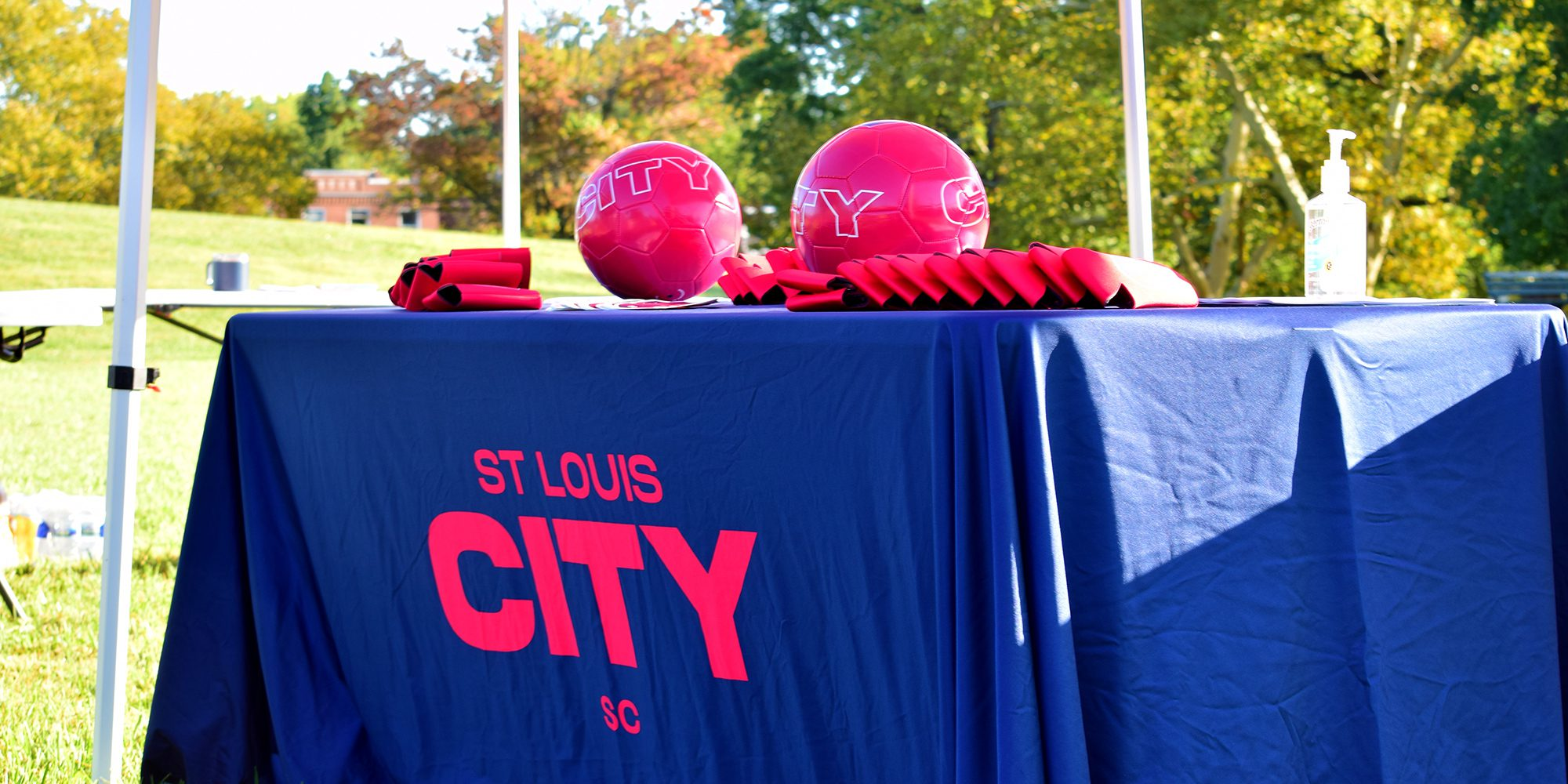St. Louis CITY SC soccer balls and swag at the futsal court in Marquette Park in Dutchtown, St. Louis, MO.