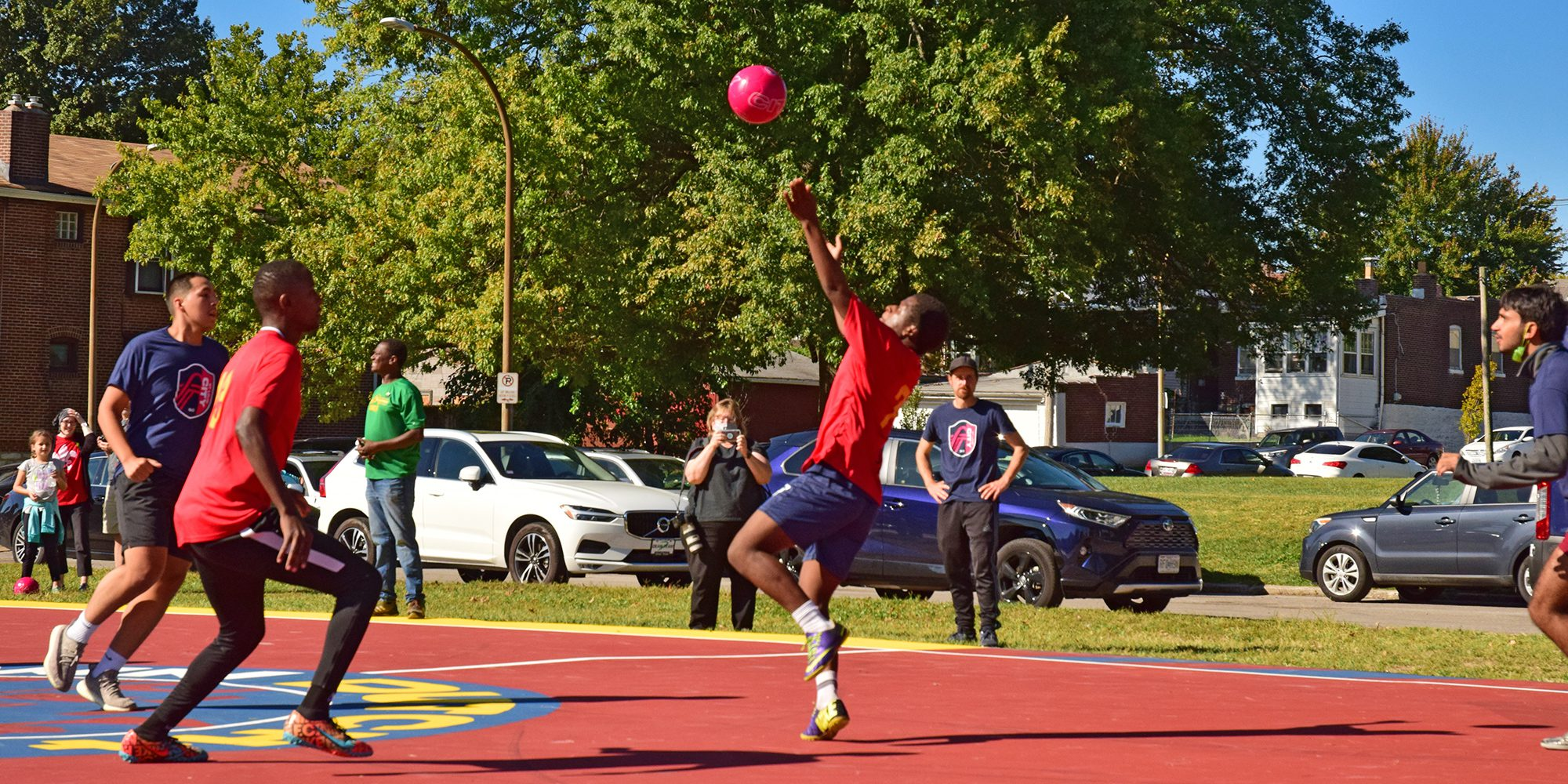 Playing futsal on the new court at Marquette Park in Dutchtown, St. Louis, MO.