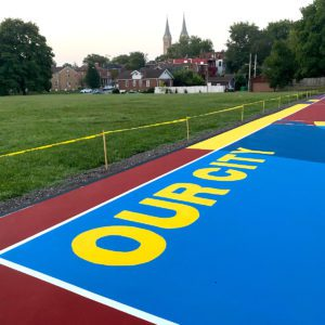 Part of the futsal court at Marquette Park.