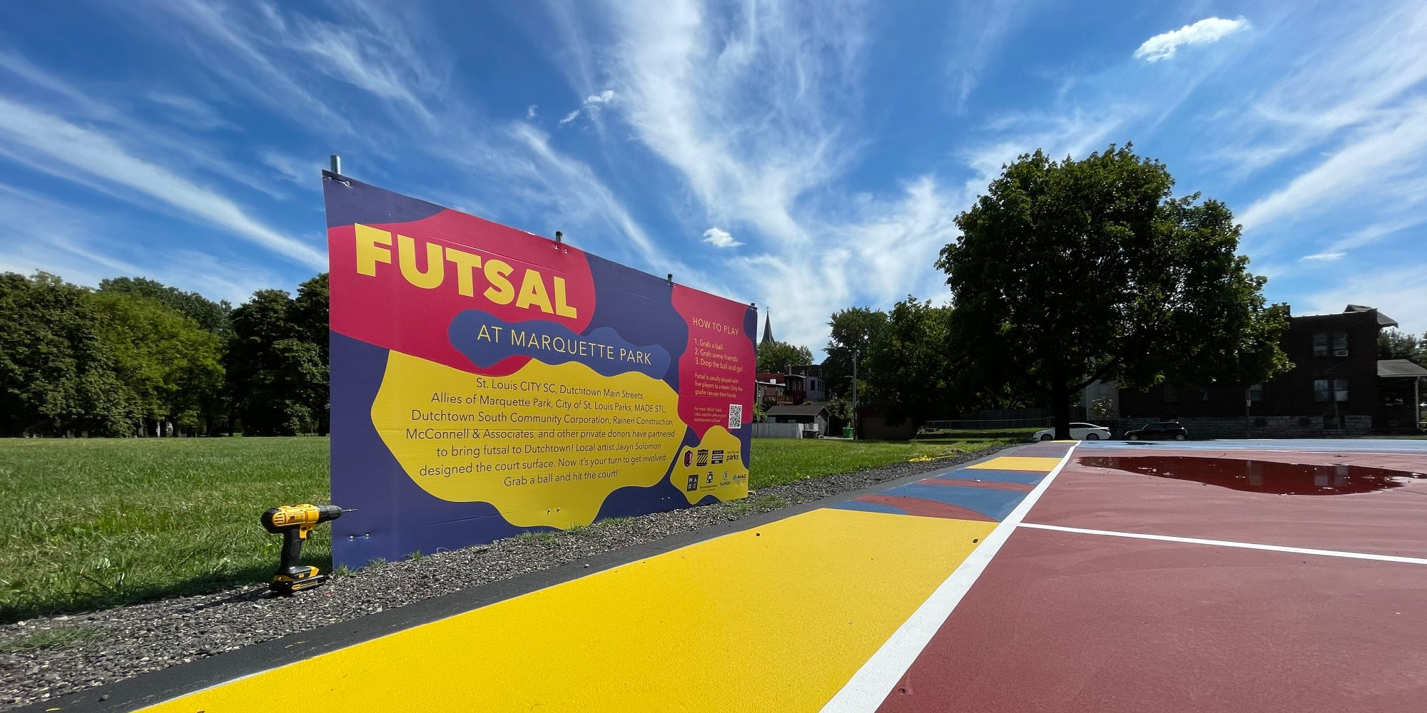 Sign at the Marquette Park futsal court.