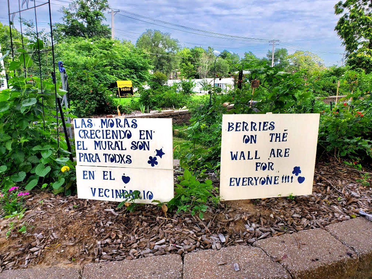"""A sign at the VAL Garden in Dutchtown that reads """"Berries on the wall are for everyone!"""""""