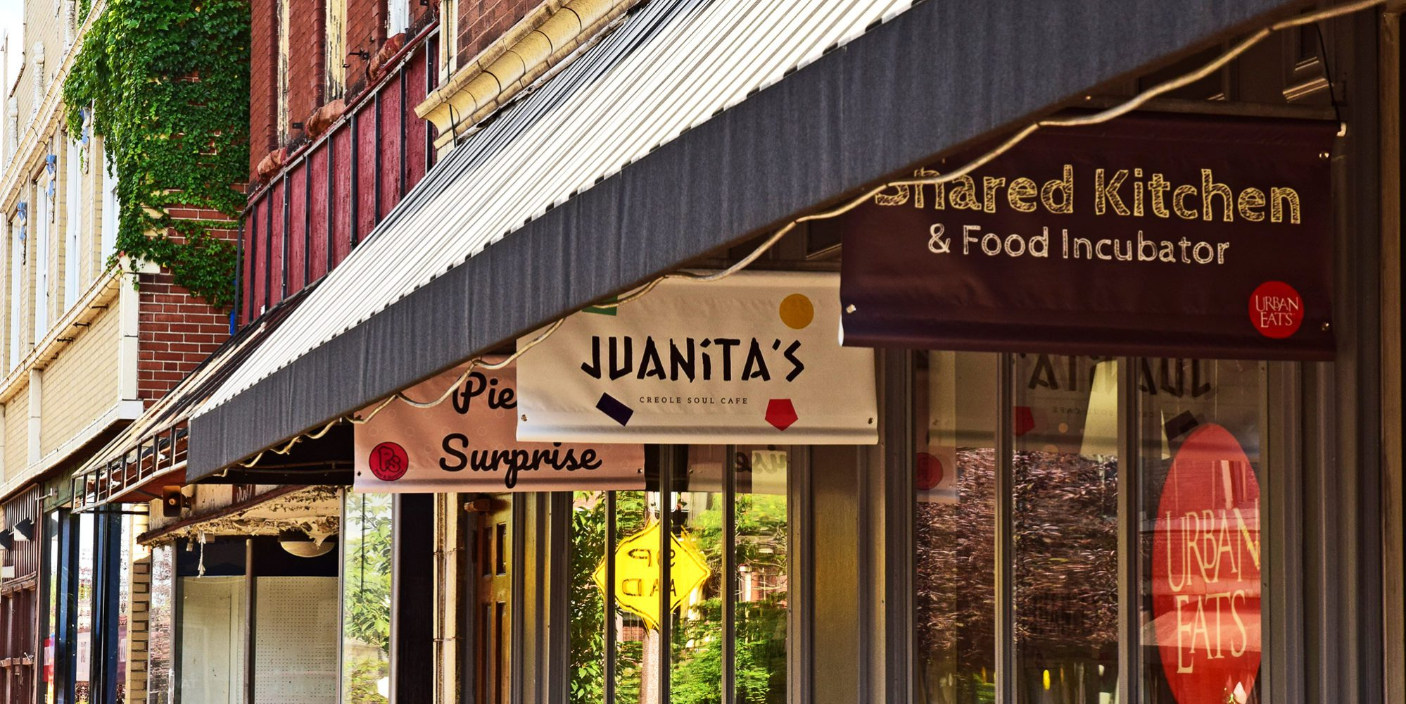 Juanita's Creole Soul Café, at the Urban Eats Neighborhood Food Hall in Downtown Dutchtown, St. Louis, MO.