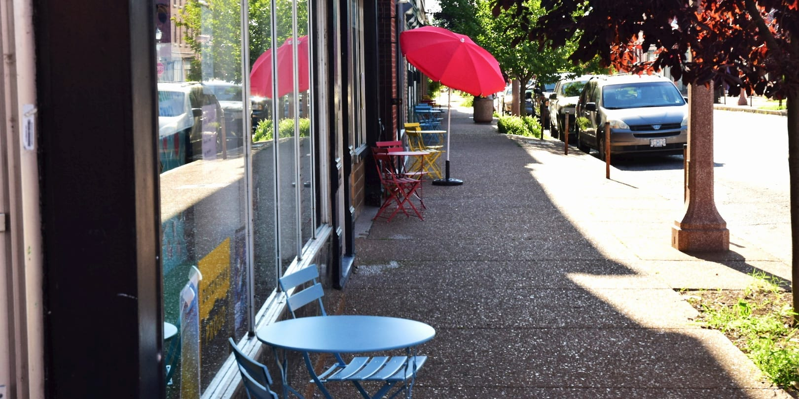 New sidewalk furniture on Meramec Street in Downtown Dutchtown.