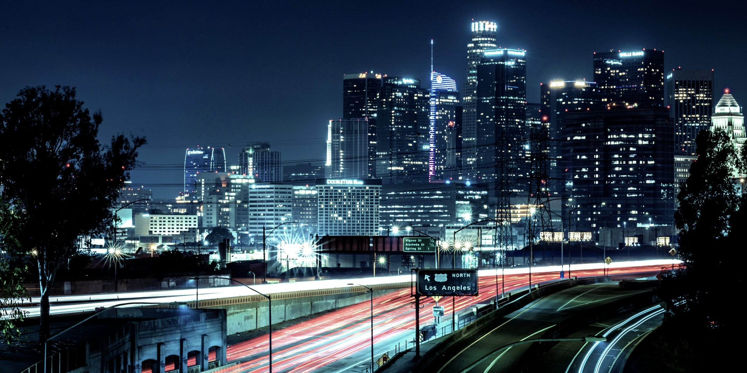 Los Angeles skyline at night. Photo by Flickr user Colin Durfee.