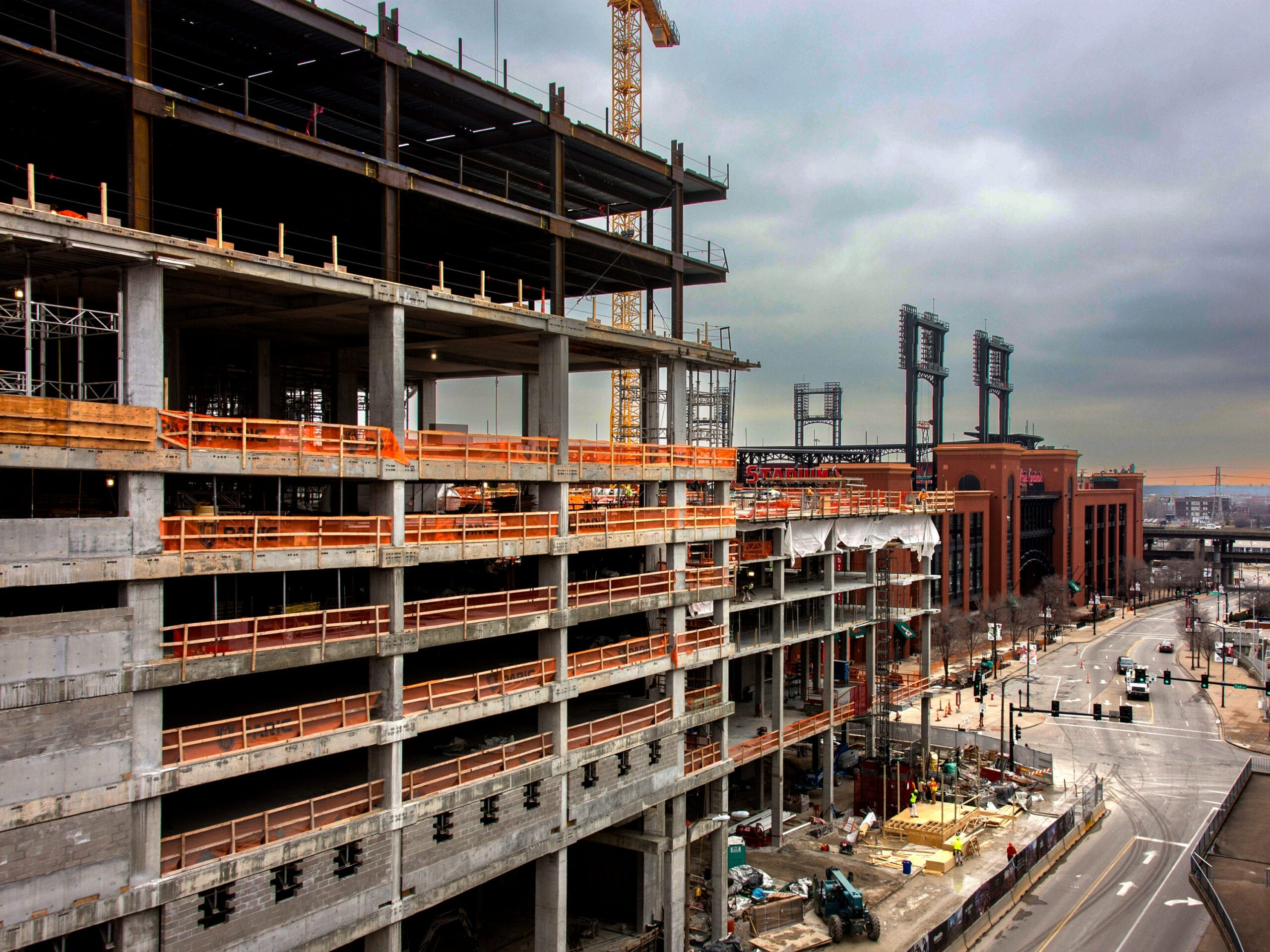 Ballpark Village in St. Louis under construction. RDM's Construction Law attorneys have experience with a variety of construction law matters.