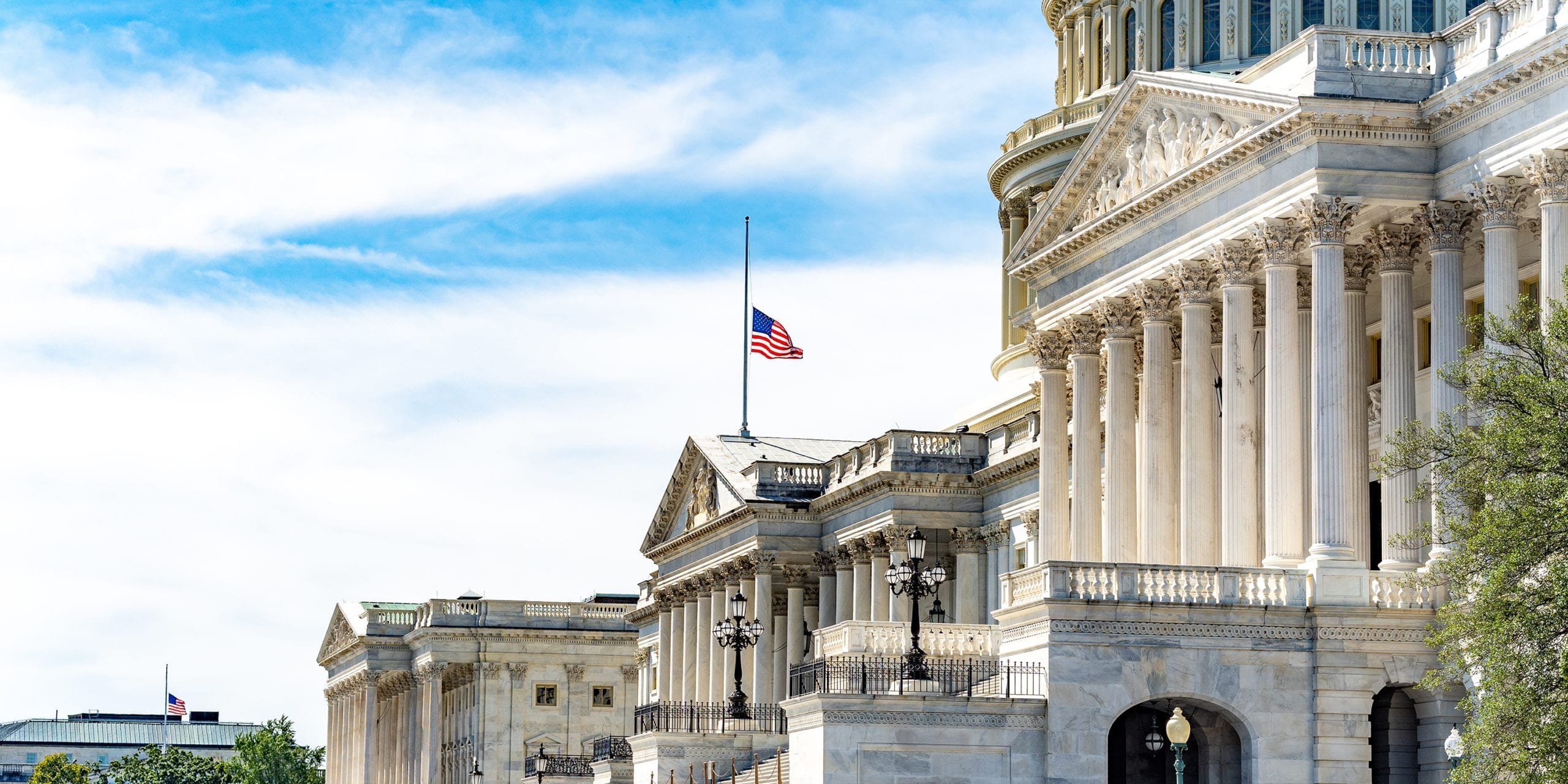 The US flag at half mast in fromt of the Capitol following the death of Justice Ruth Bader Ginsburg. Photo by Ted Eytan.