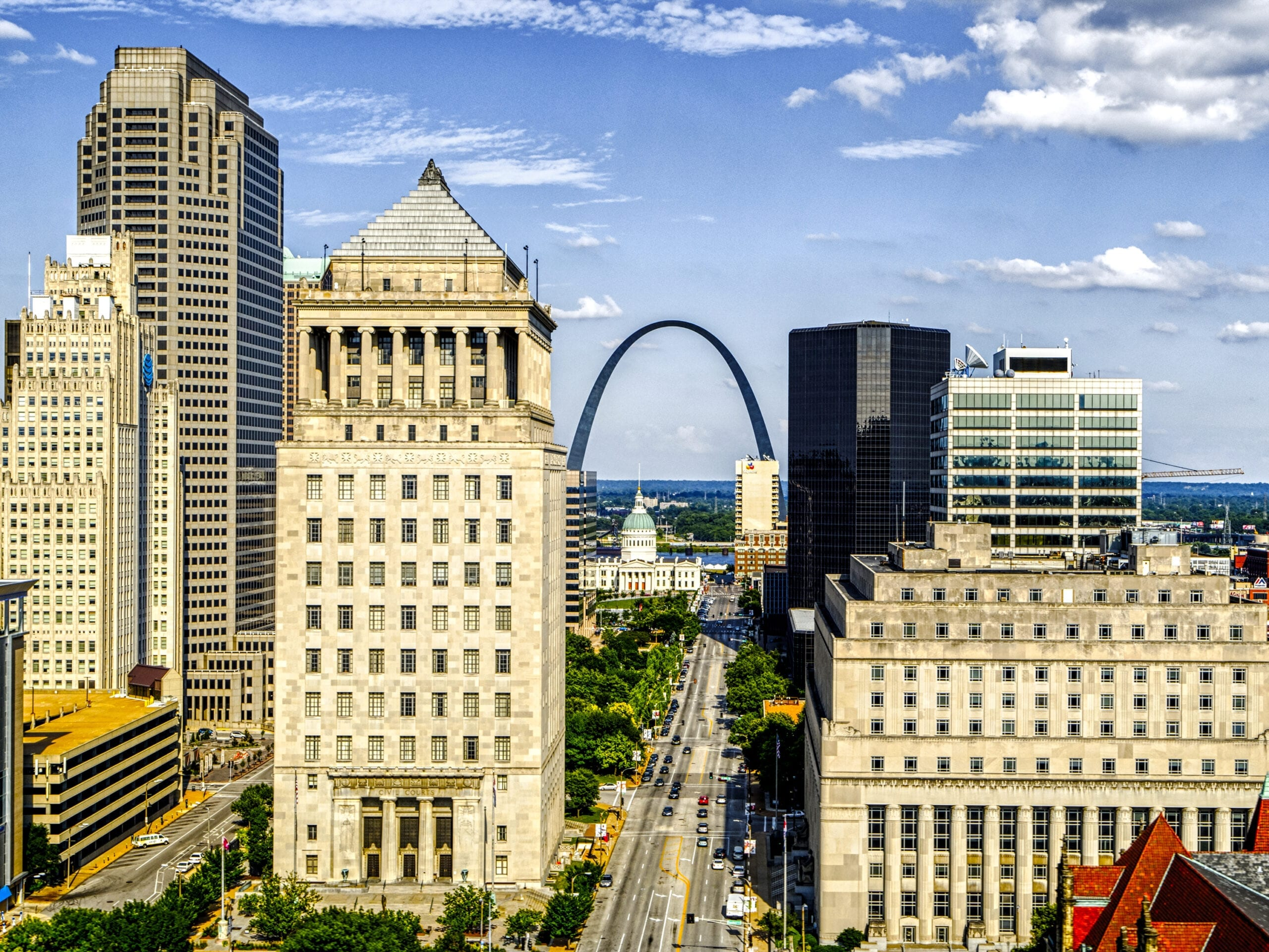 Aerial view of Downtown St. Louis.