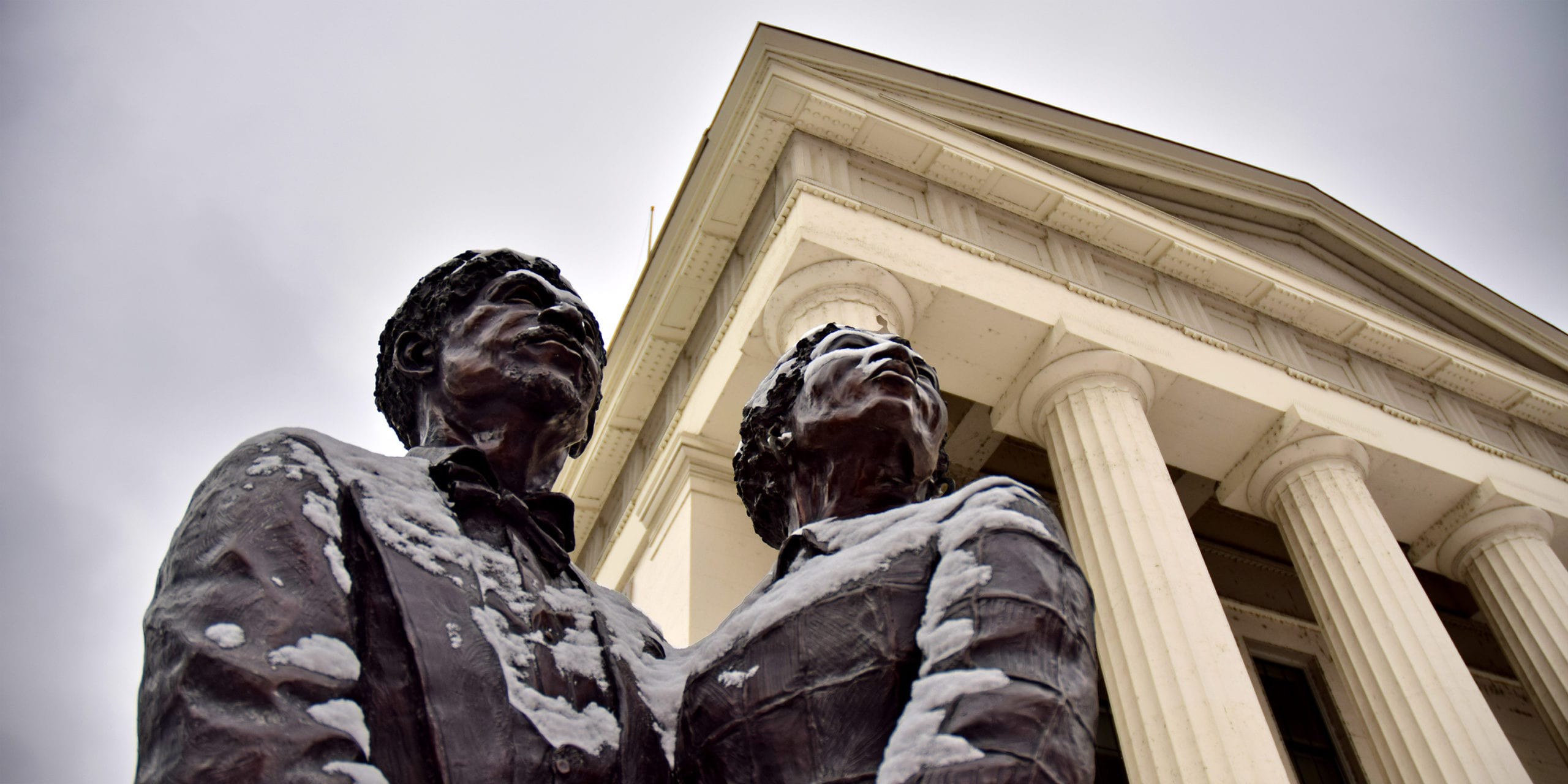A bronze statue of Dred and Harriet Scott at the Old Courthouse in St. Louis.