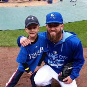 Noah Wilson and Kansas City Royals pitcher Danny Duffy, a supporter of Noah's Bandage Project.