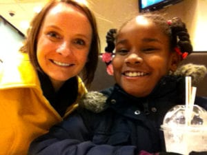 Sarah and Sydne's first meeting through the Big Brothers Big Sisters program.